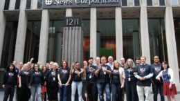 IAPE members in front of News Corp. Photo: IAPE TNG/CWA Local 1096