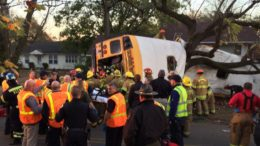 Emergency responders at the scene of Monday's deadly school bus accident, which killed 6 in Chattanooga. (Citizen Slant)