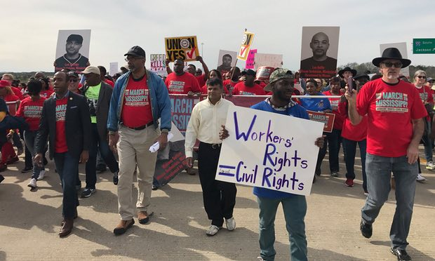 "Workers march duing the ""March on Mississippi"""