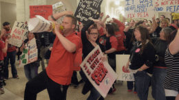 Rank-and-file teachers rally in the West Virginia State Capitol.