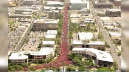 Aerial View of Arizona Teachers' Strike from FOX 10