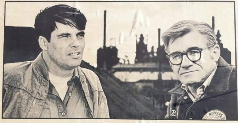 "A young ""Oil Can"" Eddie Sadlowski on the left looking off into the distance with Jim Balanoff on the right staring at the camera with a steel mill in the background."
